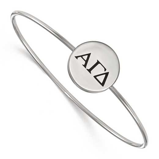 SS025AGD-8: StrlngSlvr LogoArt Alpha Gamma Delta Enameled Slip-on Bangle