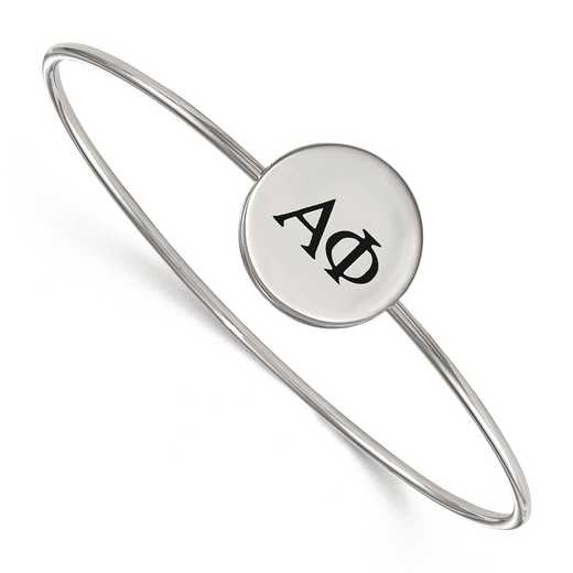 SS025APH-7: StrlngSlvr LogoArt Alpha Phi Enameled Slip-on Bangle