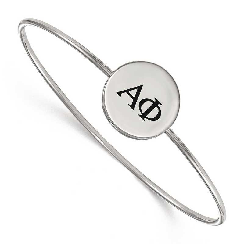 SS025APH-8: StrlngSlvr LogoArt Alpha Phi Enameled Slip-on Bangle