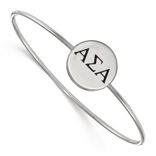 SS025ASI-7: StrlngSlvr LogoArt Alpha Sigma Alpha Enameled Slip-on Bangle