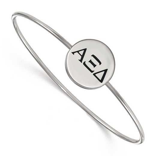 SS025AXD-7: StrlngSlvr LogoArt Alpha Xi Delta Enameled Slip-on Bangle