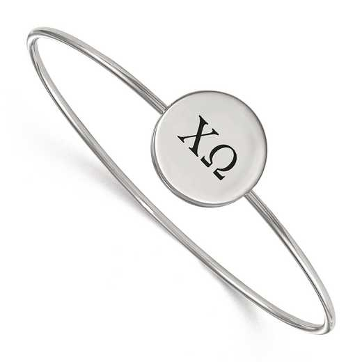 SS025CHO-6: StrlngSlvr LogoArt Chi Omega Enameled Slip-on Bangle