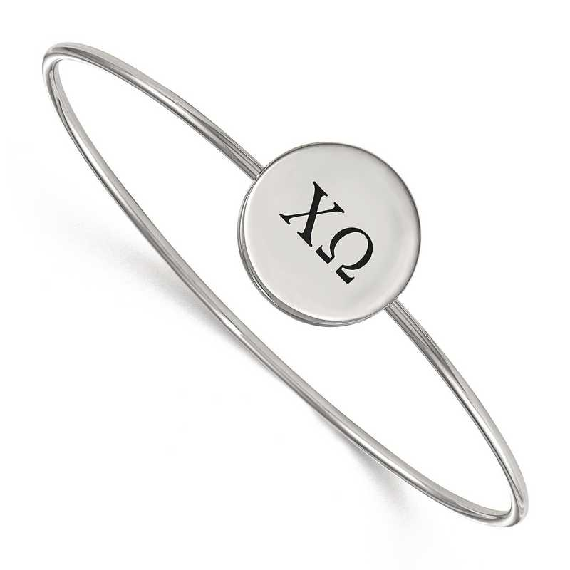 SS025CHO-7: StrlngSlvr LogoArt Chi Omega Enameled Slip-on Bangle