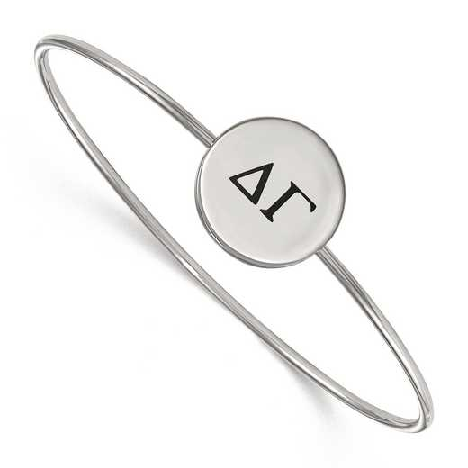SS025DG-8: StrlngSlvr LogoArt Delta Gamma Enameled Slip-on Bangle