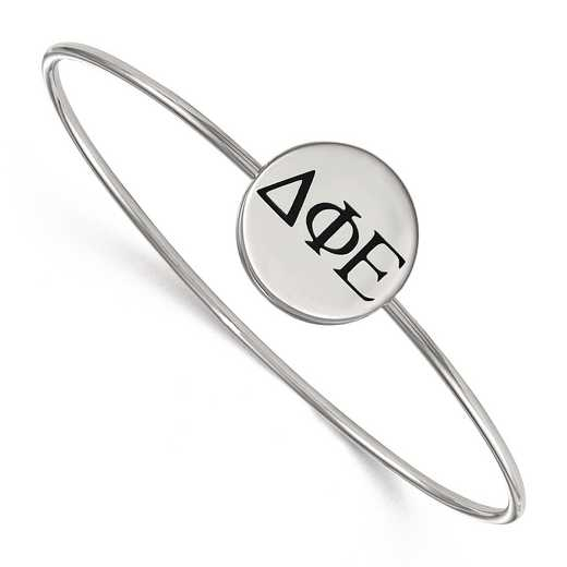 SS025DPH-7: StrlngSlvr LogoArt Delta Phi Epsilon Enameled Slip-on Bangle