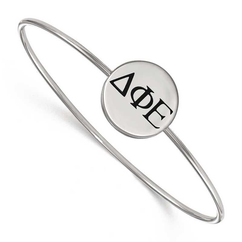 SS025DPH-8: StrlngSlvr LogoArt Delta Phi Epsilon Enameled Slip-on Bangle