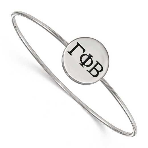 SS025GPB-8: StrlngSlvr LogoArt Gamma Phi Beta Enameled Slip-on Bangle