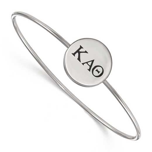 SS025KAT-7: StrlngSlvr LogoArt Kappa Alpha Theta Enameled Slip-on Bangle