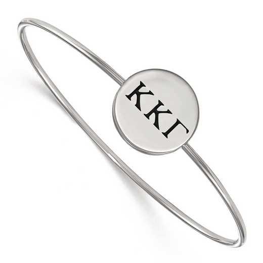 SS025KKG-7: StrlngSlvr LogoArt Kappa Kappa Gamma Enameled Slip-on Bangle