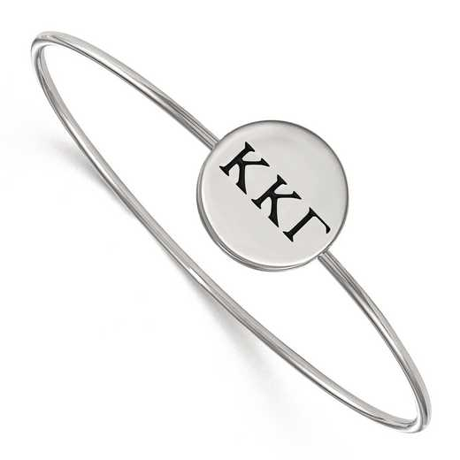SS025KKG-8: StrlngSlvr LogoArt Kappa Kappa Gamma Enameled Slip-on Bangle