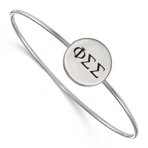 SS025PSS-7: StrlngSlvr LogoArt Phi Sigma Sigma Enameled Slip-on Bangle