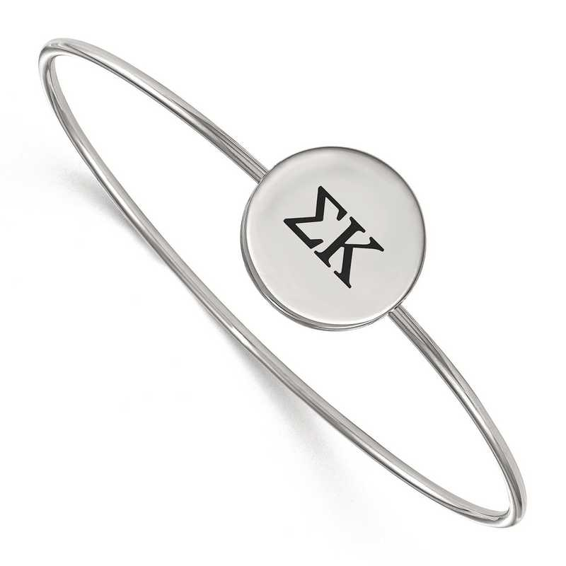 SS025SKP-7: StrlngSlvr LogoArt Sigma Kappa Enameled Slip-on Bangle