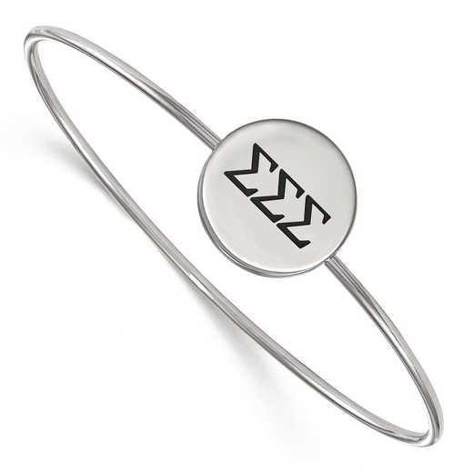 SS025SSS-7: StrlngSlvr LogoArt Sigma Sigma Sigma Enameled Slip-on Bangle