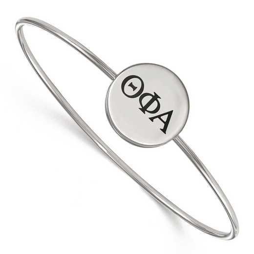 SS025TPA-8: StrlngSlvr LogoArt Theta Phi Alpha Enameled Slip-on Bangle
