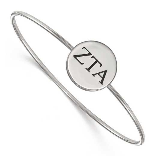SS025ZTA-7: StrlngSlvr LogoArt Zeta Tau Alpha Enameled Slip-on Bangle