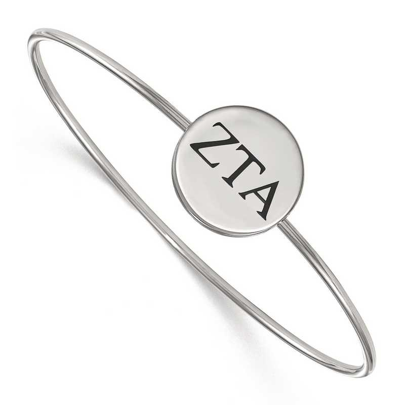 SS025ZTA-8: StrlngSlvr LogoArt Zeta Tau Alpha Enameled Slip-on Bangle