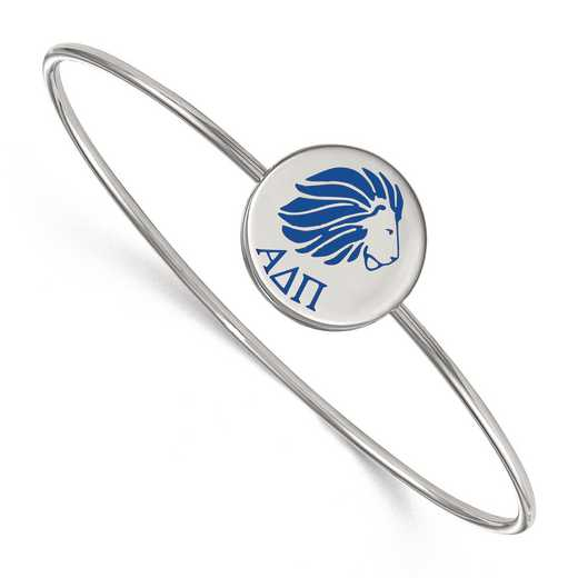 SS048ADP-8: StrlngSlvr LogoArt Alpha Delta Pi Enameled Slip-on Bangle