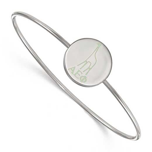 SS048AEP-8: StrlngSlvr LogoArt Alpha Epsilon Phi Enameled Slip-on Bangle