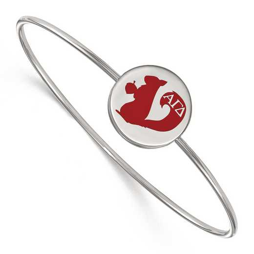 SS048AGD-7: StrlngSlvr LogoArt Alpha Gamma Delta Enameled Slip-on Bangle