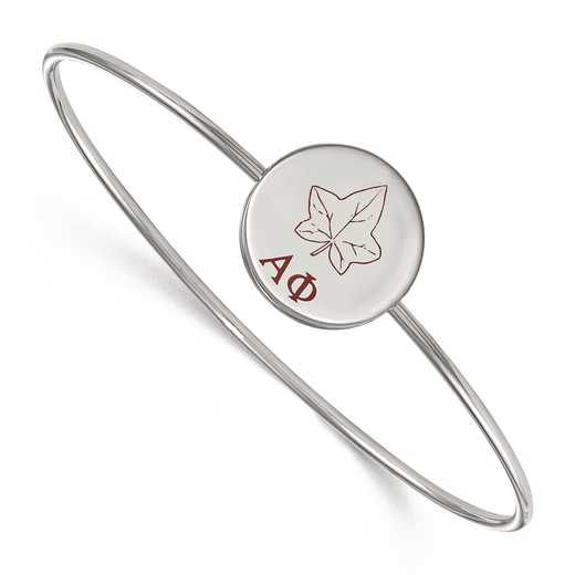 SS048APH-8: StrlngSlvr LogoArt Alpha Phi Enameled Slip-on Bangle