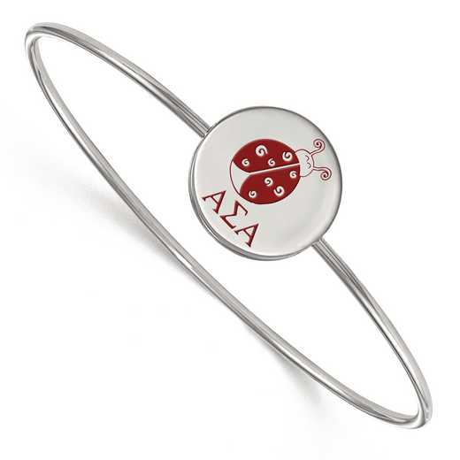SS048ASI-7: StrlngSlvr LogoArt Alpha Sigma Alpha Enameled Slip-on Bangle