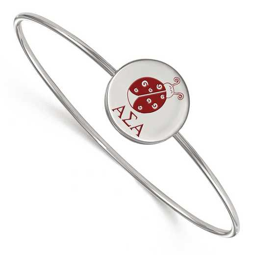 SS048ASI-8: StrlngSlvr LogoArt Alpha Sigma Alpha Enameled Slip-on Bangle