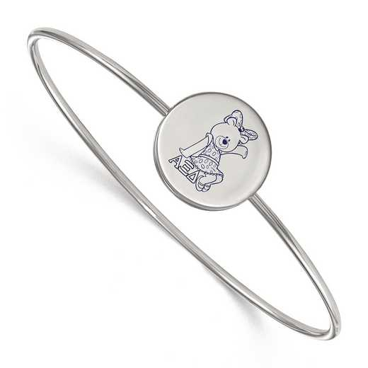 SS048AXD-8: StrlngSlvr LogoArt Alpha Xi Delta Enameled Slip-on Bangle