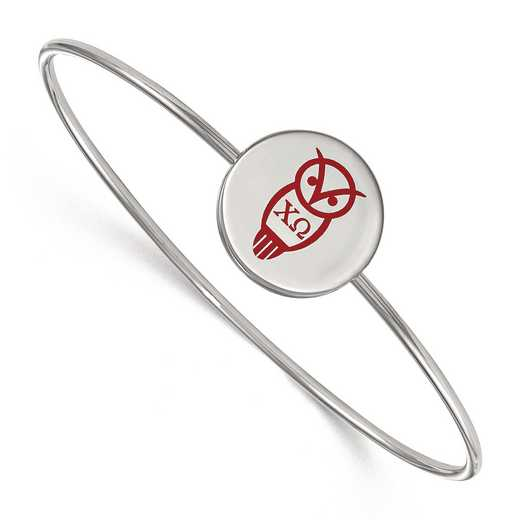 SS048CHO-7: StrlngSlvr LogoArt Chi Omega Enameled Slip-on Bangle