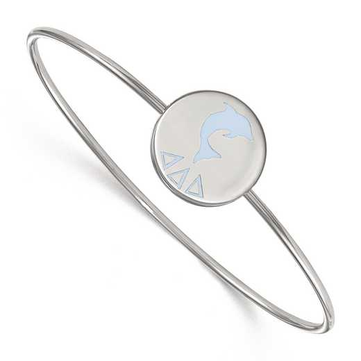 SS048DDD-7: StrlngSlvr LogoArt Delta Delta Delta Enameled Slip-on Bangle