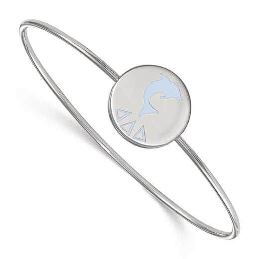 SS048DDD-8: StrlngSlvr LogoArt Delta Delta Delta Enameled Slip-on Bangle