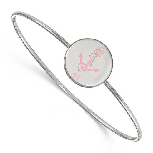 SS048DG-7: StrlngSlvr LogoArt Delta Gamma Enameled Slip-on Bangle