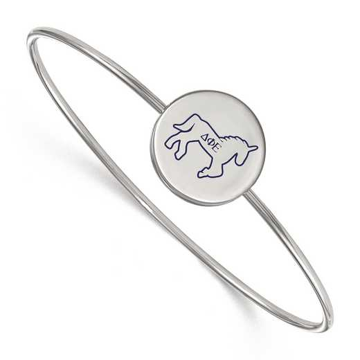 SS048DPH-7: StrlngSlvr LogoArt Delta Phi Epsilon Enameled Slip-on Bangle