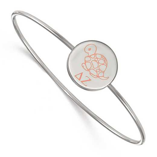 SS048DZ-8: StrlngSlvr LogoArt Delta Zeta Enameled Slip-on Bangle