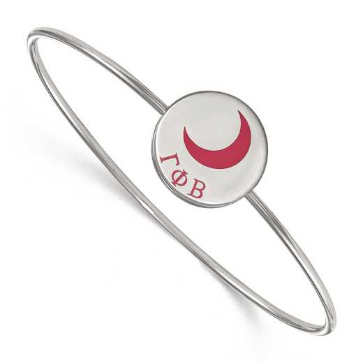 SS048GPB-7: StrlngSlvr LogoArt Gamma Phi Beta Enameled Slip-on Bangle