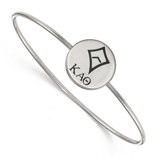 SS048KAT-7: StrlngSlvr LogoArt Kappa Alpha Theta Enameled Slip-on Bangle