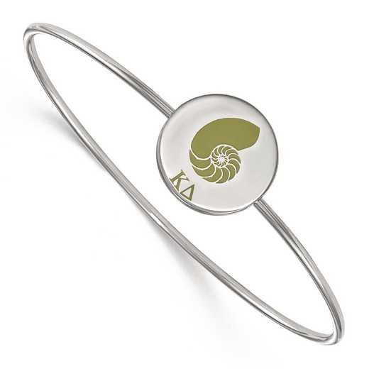 SS048KD-7: StrlngSlvr LogoArt Kappa Delta Enameled Slip-on Bangle
