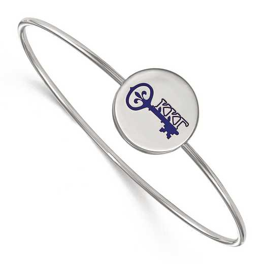 SS048KKG-7: StrlngSlvr LogoArt Kappa Kappa Gamma Enameled Slip-on Bangle
