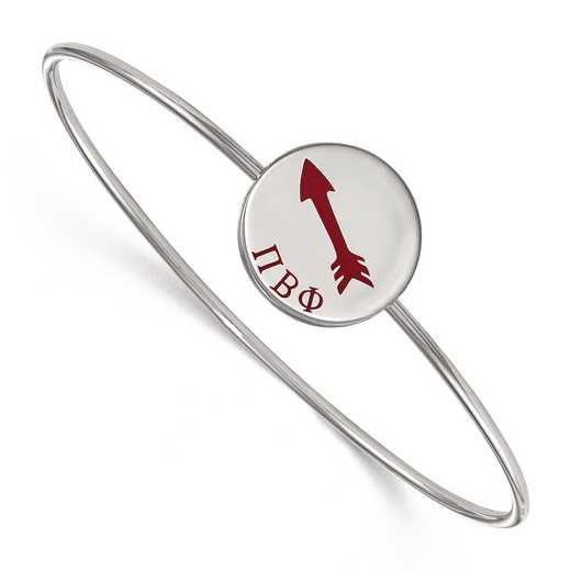 SS048PBP-7: StrlngSlvr LogoArt Pi Beta Phi Enameled Slip-on Bangle