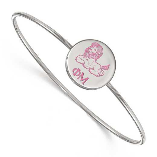 SS048PHM-7: StrlngSlvr LogoArt Phi Mu Enameled Slip-on Bangle