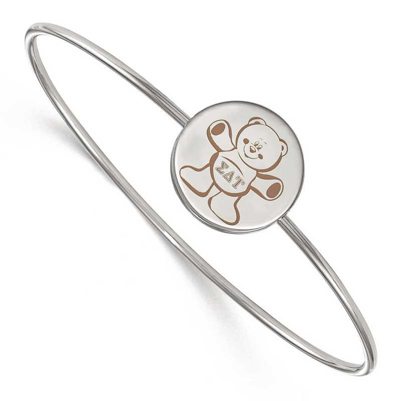 SS048SDT-8: StrlngSlvr LogoArt Sigma Delta Tau Enameled Slip-on Bangle