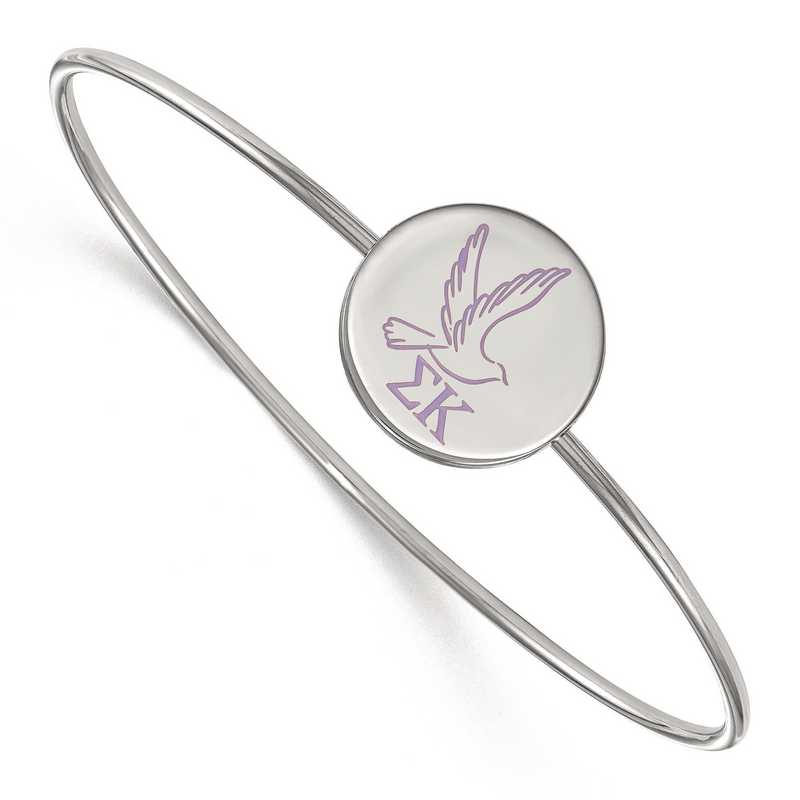 SS048SKP-8: StrlngSlvr LogoArt Sigma Kappa Enameled Slip-on Bangle