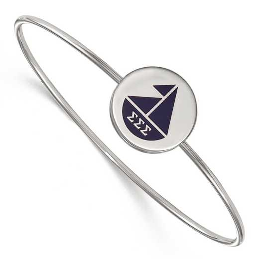 SS048SSS-8: StrlngSlvr LogoArt Sigma Sigma Sigma Enameled Slip-on Bangle