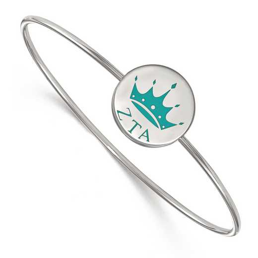 SS048ZTA-7: StrlngSlvr LogoArt Zeta Tau Alpha Enameled Slip-on Bangle