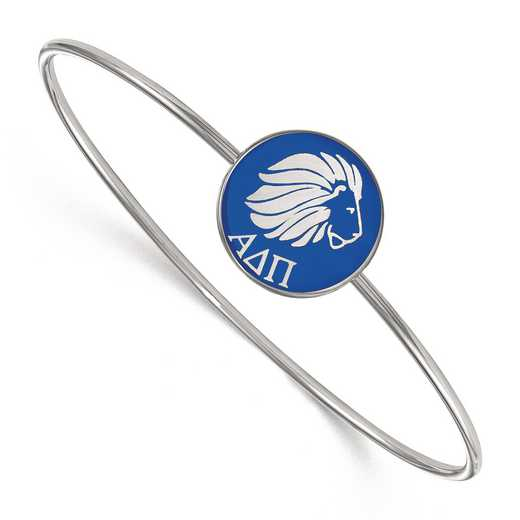 SS049ADP-7: StrlngSlvr LogoArt Alpha Delta Pi Enameled Slip-on Bangle