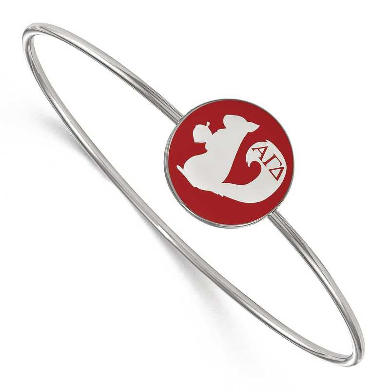 SS049AGD-8: StrlngSlvr LogoArt Alpha Gamma Delta Enameled Slip-on Bangle