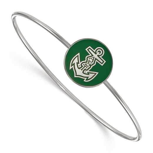 SS049ALS-7: StrlngSlvr LogoArt Alpha Sigma Tau Enameled Slip-on Bangle