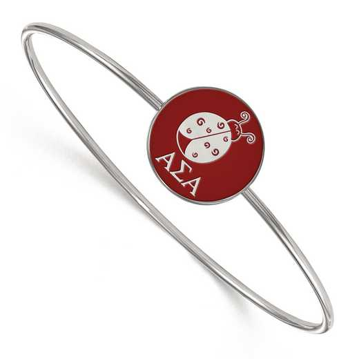 SS049ASI-8: StrlngSlvr LogoArt Alpha Sigma Alpha Enameled Slip-on Bangle