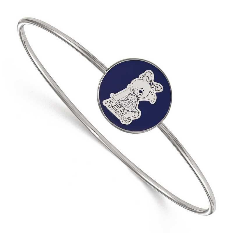 SS049AXD-7: StrlngSlvr LogoArt Alpha Xi Delta Enameled Slip-on Bangle