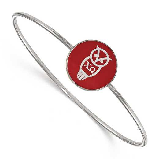 SS049CHO-7: StrlngSlvr LogoArt Chi Omega Enameled Slip-on Bangle