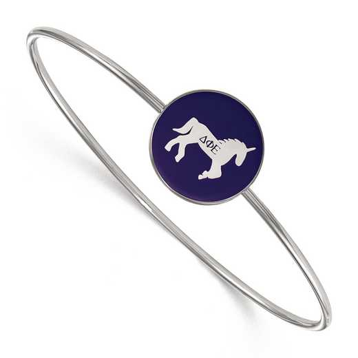 SS049DPH-7: StrlngSlvr LogoArt Delta Phi Epsilon Enameled Slip-on Bangle